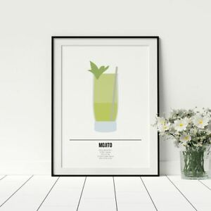 Mojito Drinks Poster Cocktail Wall Art Recipe Alcohol Kitchen Framed Prints Ebay