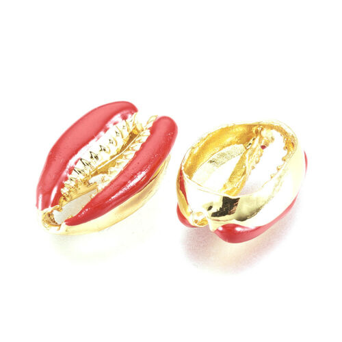 50PCS Alloy Enamel Shell Beads For Jewelry Making Real Gold Plated Mixed Color