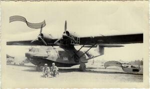 WWII USAAF OA10A PBY-5A Catalina Flying Boat Morotai Is NEI 1944 1Original Photo