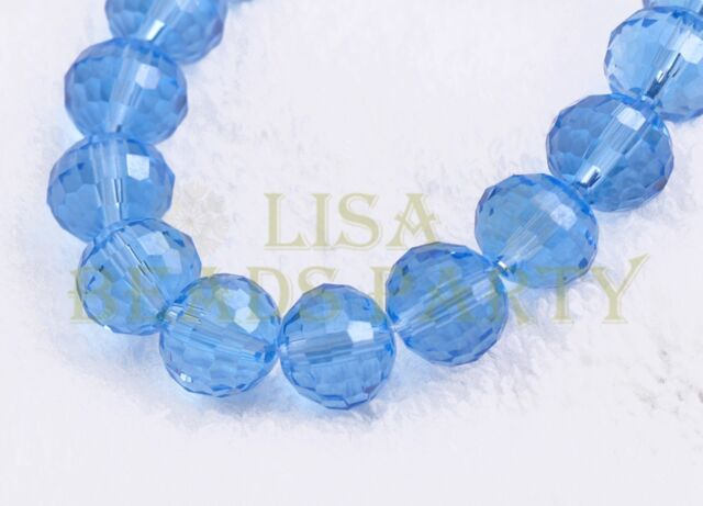 New 10pcs 10mm 96 Facets Round Loose Spacer Glass Beads Bulk Light Blue