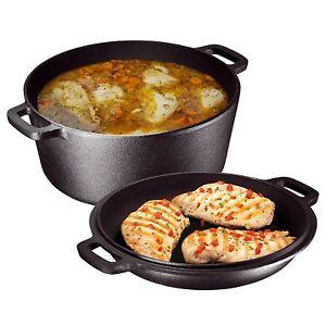 5-Quart-Cast-Iron-Dutch-Oven-Pre-Seasoned-Pot-Skillet-Lid-Food-Kitchen-Cookware