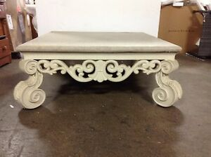 Details about Frontgate Indoor Outdoor Square Granite Top Sofa Large Coffee  Patio Table White