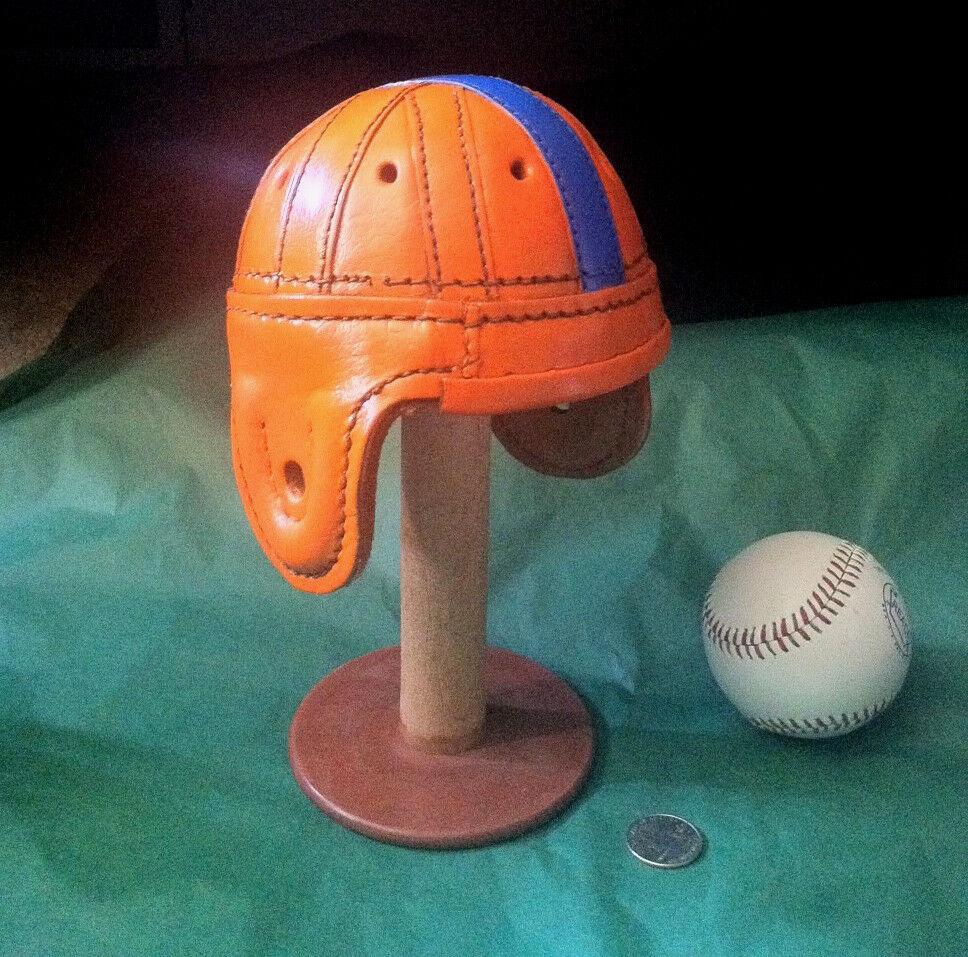 0c1581e8ed6 1940 Leather Florida Gator orange   bluee mini 1 3 scale Football Helmet