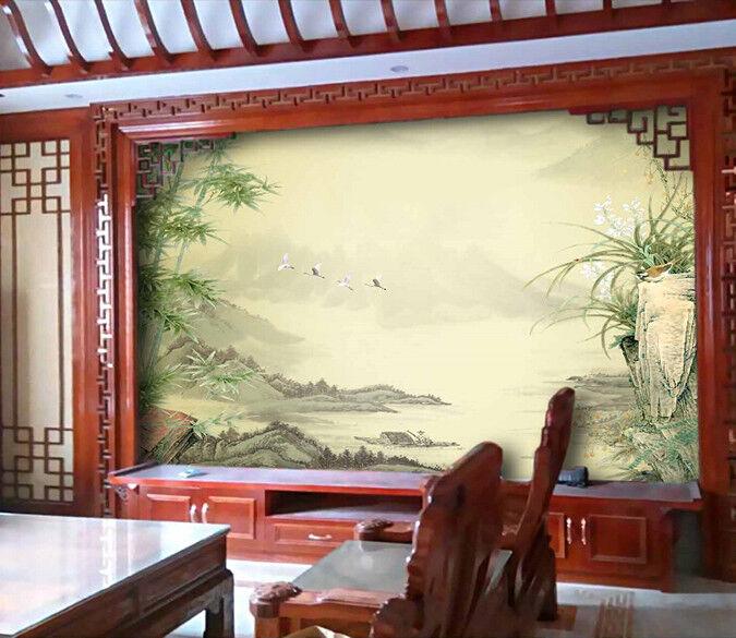 3D Bamboo Hill Birds 7 Wall Paper Murals Wall Print Wall Wallpaper Mural AU Kyra