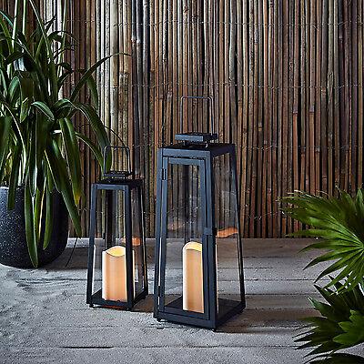 Regular or Large Black Metal Solar Powered LED Garden Flickering Candle Lantern
