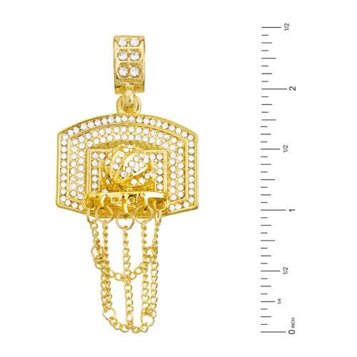"24/"" Miami Cuban Chain Necklace MCP 1158 G Men/'s Basketball /& Hoop Pendant 20/"""