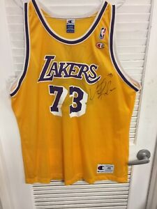 hot sale online b90f8 a3912 Details about JSA Certified Dennis Rodman Autographed Los Angeles Lakers  Jersey XL #73