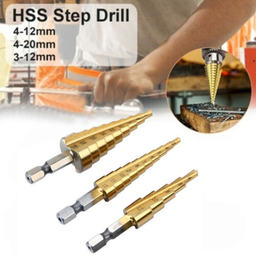Durable HSS Titanium Hex Shank Multifunction Cone Step Drill Bit Set 3Size~