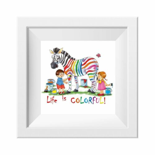 ohne Rahm 041 Kinderzimmer Bild Zebra bunt Poster Plakat quadratisch 30 x 30 cm