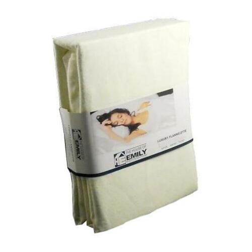 """Extra Deep SUPERKING Fitted Sheet CREAM Brushed Cotton Flannelette 38cm 15/"""""""