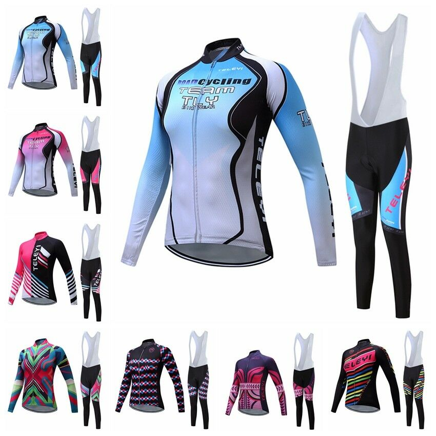 nuovo donna Cycling Jersey Sets lungo Sleeve Bike Sport T-shirt Tops lungo Bib Pants
