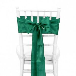 """Green 6""""X108"""" Satin Chair cover Sashes Bow Wedding Function Decoration"""