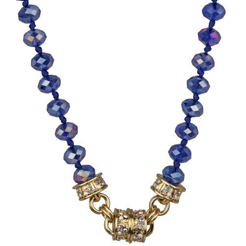 NEW KIRKS FOLLY TIMELESS CRYSTAL  BEAD MAGNETIC NECKLACE GOLDTONE/ VIBRANT BLUE