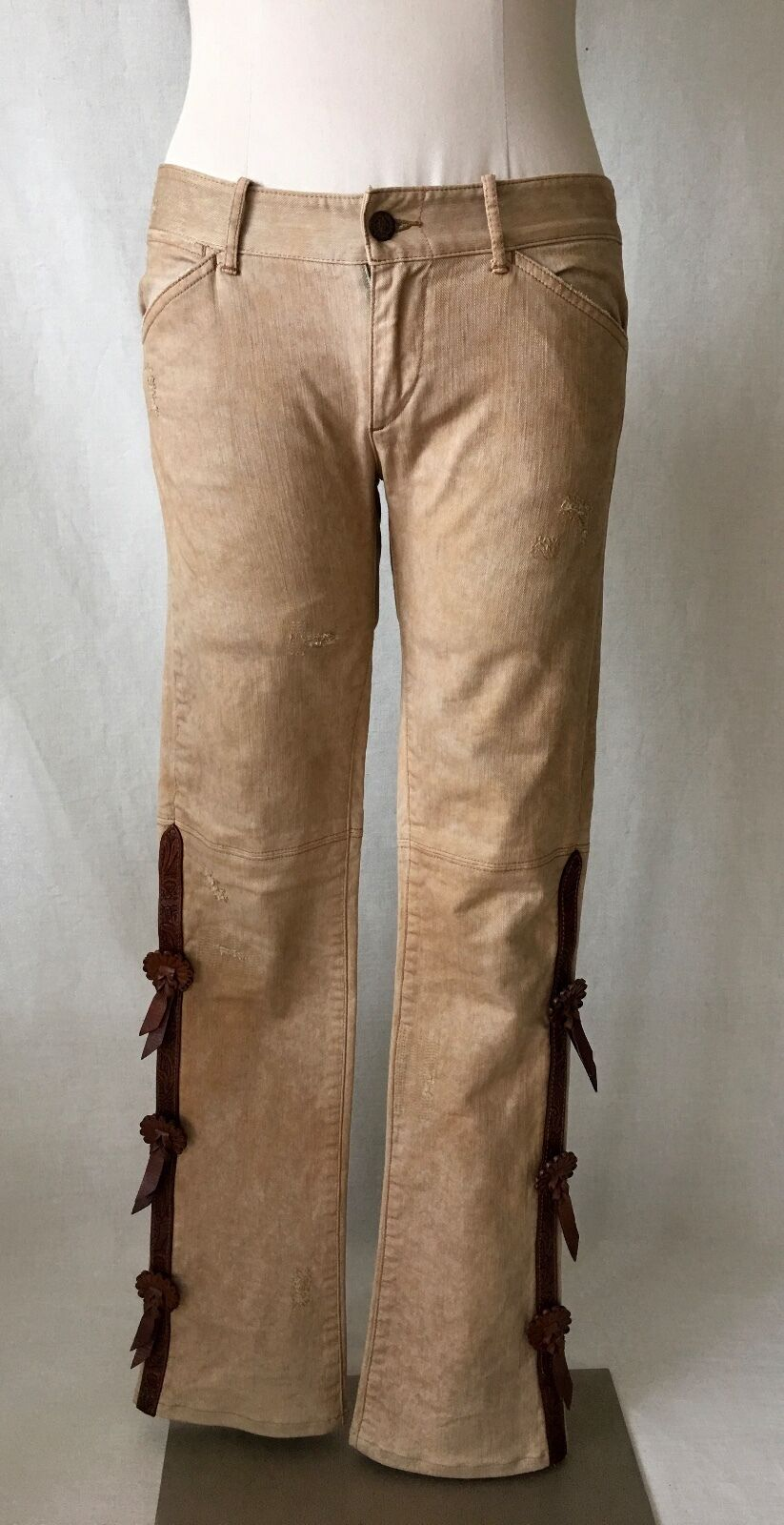 RALPH LAUREN VINTAG WESTERN PENTS with LEATHER pinkTTA EMBELLISHMET. RARE. SZ.27