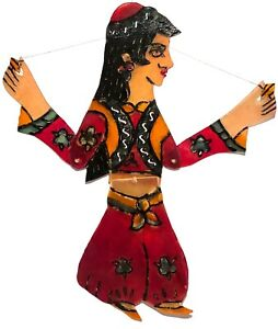 VINTAGE KARAGOZ TURKEY HAND PAINTED LEATHER SHADOW PUPPET FIGURE FOLK ART