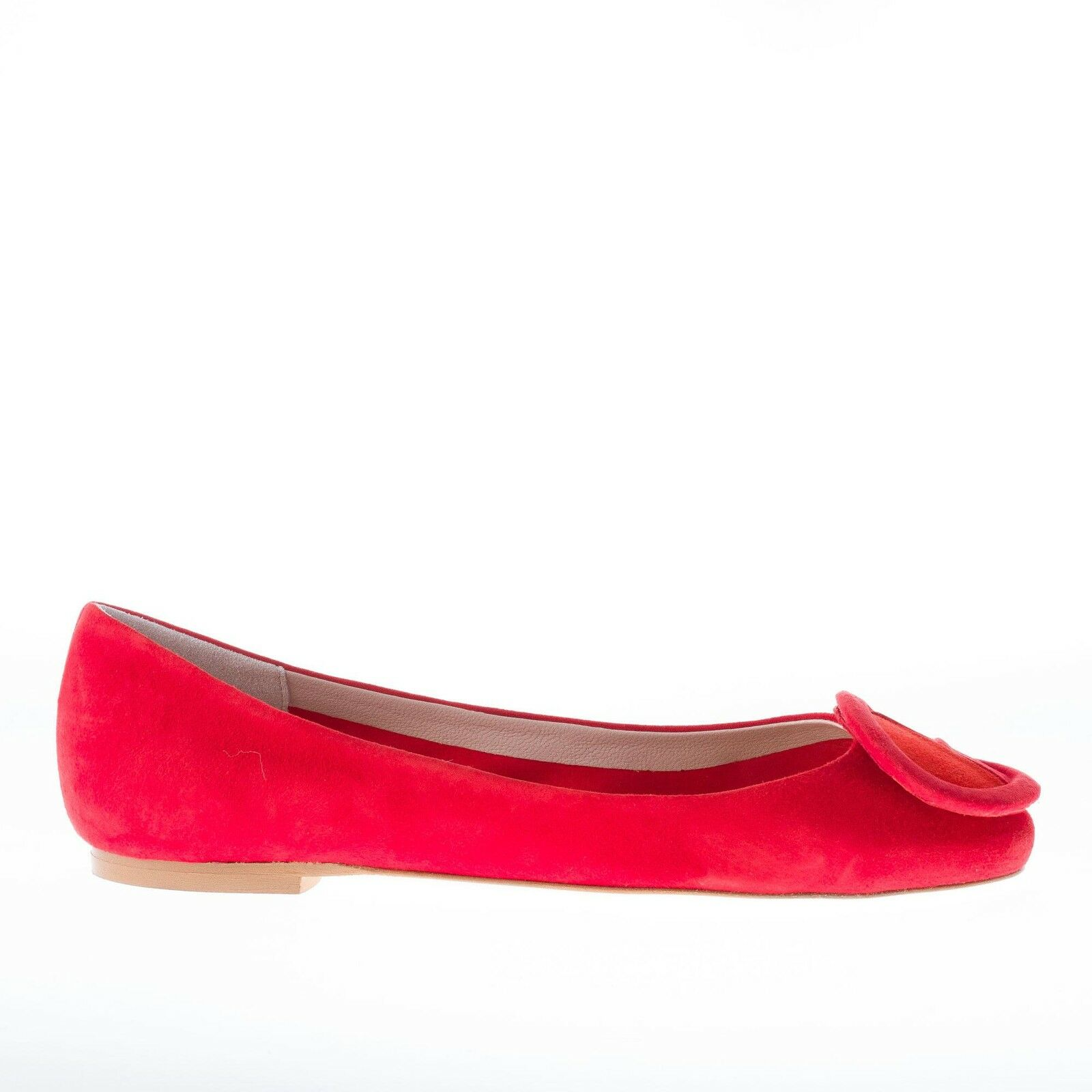 IL BORGO FIRENZE damen schuhe shoes red suede ballet flat patchwork suede buckle