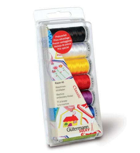 7 Colour Box Set CLASSIC Gutermann Sulky Rayon No.40 Machine Thread Set