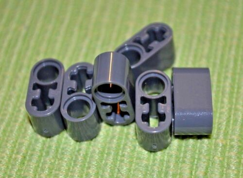 (6) Dark Gray #2 Thick Oval Technic  Beam w/ [+/O]  Bricks ~ NEW ~ Lego