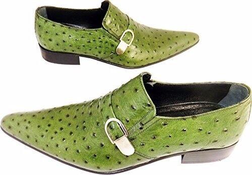Original Chelsy - Italienischer Designer Slipper Straußenmuster Schnalle grün 43 43 43 808e88