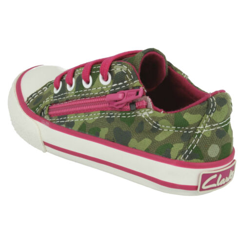 GIRLS CLARKS TOP GAME CANVAS SHOES LACE UP CASUAL TRAINERS PLIMSOLLS ZIP SIZE