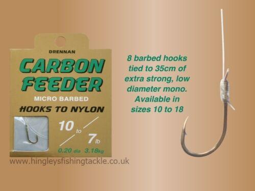 Drennan Carbon Feeder Micro Barbed Hooks to Nylon,Carp,Coarse Fishing