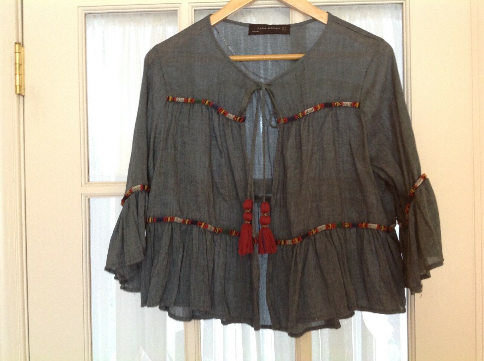 Zara Embroidered and beads Tunic with Tassel Tie NWOT