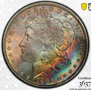 1885-P-USA-MORGAN-SILVER-DOLLAR-PCGS-MS64-UNC-TONED-RAINBOW-COLOR-BU-14-DR