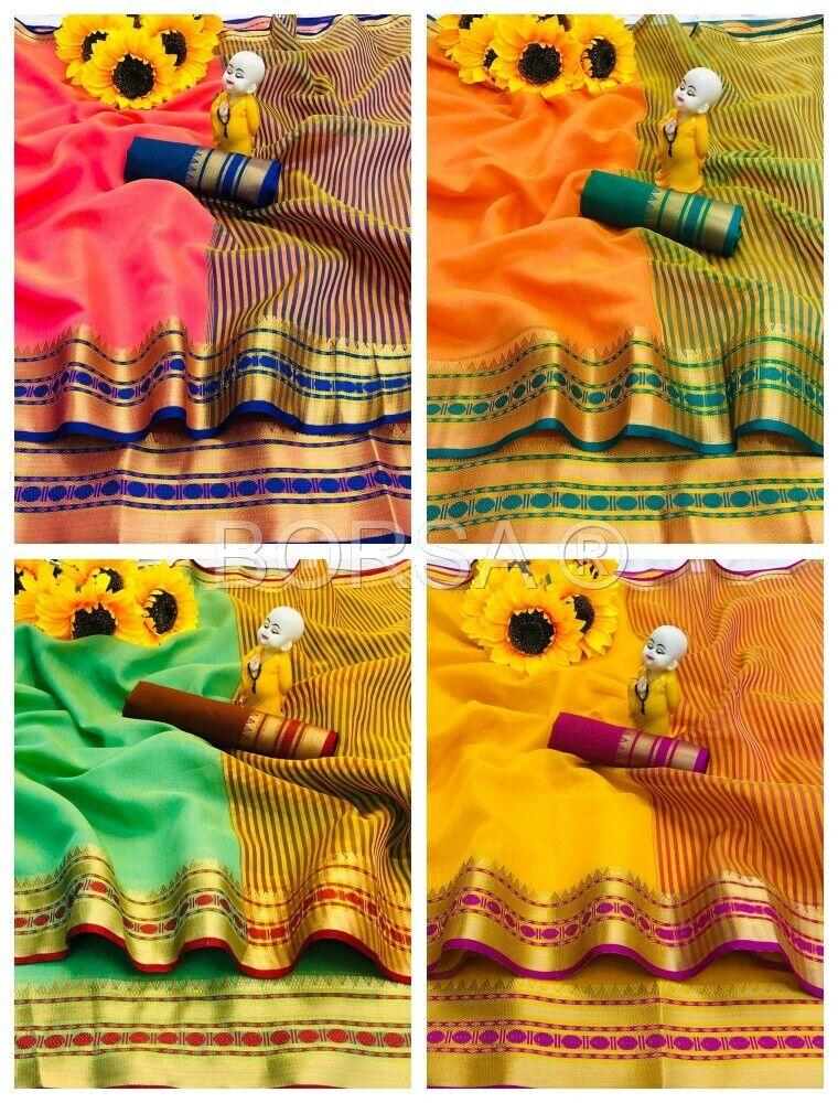 Wedding Gift Saree Cotton Silk Indian Festival Ceremony Diwali Christmas Sari
