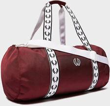 Fred Perry 2019 Maroon Track Barrel Duffle Bag Gym School Sports Carry  Shoulder a4d80eb829f74