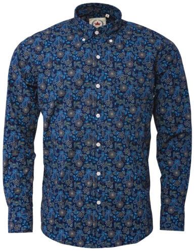 Relco Men/'s Blue Paisley Long Sleeve Button Down Collar Mod Floral Shirt