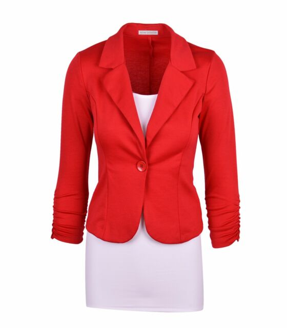 New Womens Color Blazer Jacket Suit Work Casual Basic Long Sleeve Candy Button