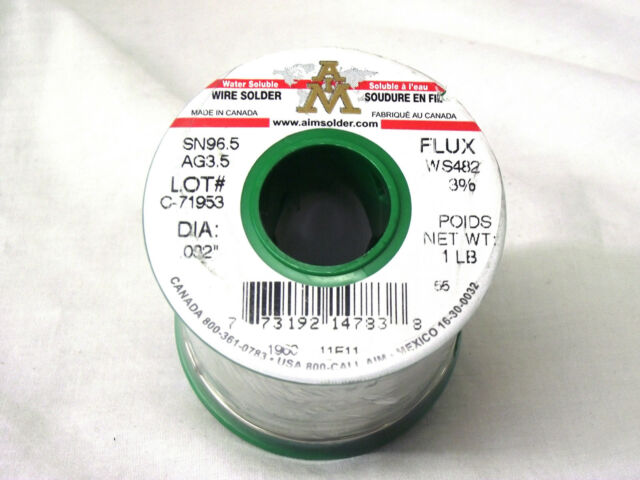 "Silver//tin Sn96.5//ag3.5 Lead Free North American Made AIM Wire Solder .032/"" Dia"