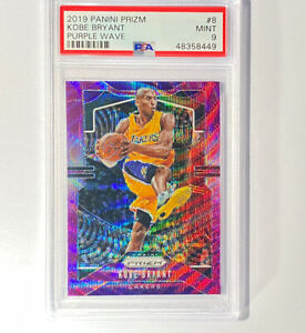 2019-20 Panini Prizm Purple Wave Kobe Bryant #8, Low POP, Graded PSA 9