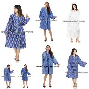 7496ae2277 Image is loading Women-Cotton-Floral-Kimono-Bride-Robe-Dressing-Gown-