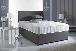NEW GREY MEMORY FOAM DIVAN BED SET WITH MATTRESS + HEADBOARD 3FT 4FT6 Double 5FT