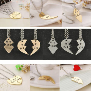 Newly-Best-Bitches-Broken-Heart-Best-Friends-Forever-Chain-Pendant-Necklace-Gift