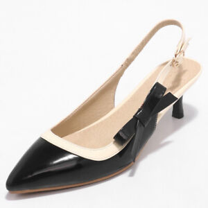 Women-Slingbacks-Sandals-Patent-Leather-Pointed-Toe-Kitten-Low-Heel-Pumps-Shoes