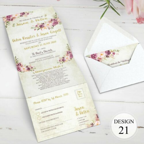 Concertina Day or Evening Invites Envelopes Personalised Wedding Invitations