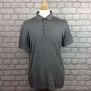 BOSS HUGO BOSS MENS GREY UK M TAILORED SLIM FIT COTTON SILK POLO ... 712d1707d
