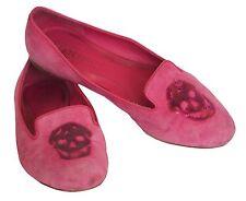 ALEXANDER McQUEEN Flat Shoes Skull Sequin Pink Suede Size 36 US 6