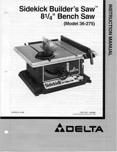 delta 36 275 sideckick builders saw instruction manual ebay rh ebay com Wildgame Innovations Manuals Operators Manual