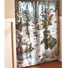 Bear Shower Curtain Moose Outhouse Fabric Bathroom Decor Country ...
