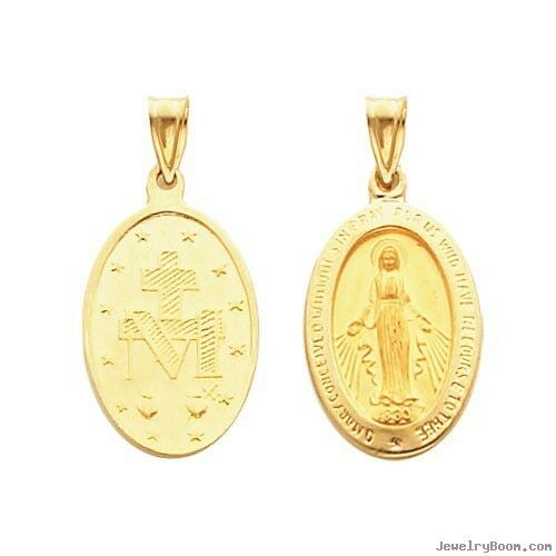 3D Medium Oval Miraculous Medal Charm Pendant Solid Real 14K Yellow Gold 13X21mm