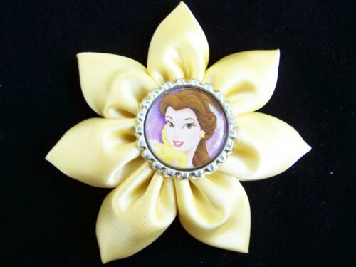 "NEW Custom /""PRINCESS BELLE/"" bOuTiQuE FLOWER Clip Hair Bow Yellow"