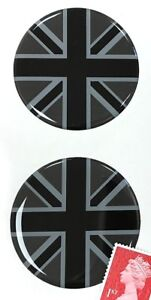 2-x-Union-Jack-Flag-Stickers-Domed-Finish-Black-amp-2-Tone-Grey-50mm-Diameter