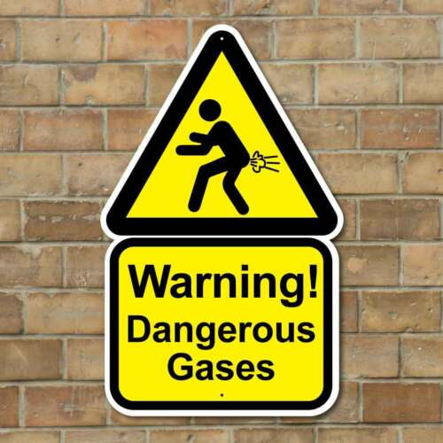 JOKE TOILET SIGN RUDE WIND MAN CAVE SIGN, DANGEROUS GASES FUNNY WARNING SIGN