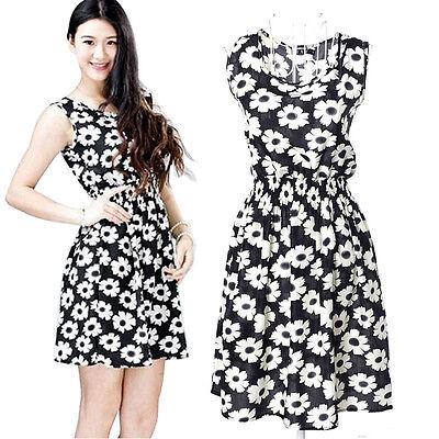 1PC Summer Flower Women Ladies Casual Chiffon Sleeveless Beach Dress #1 Cheap