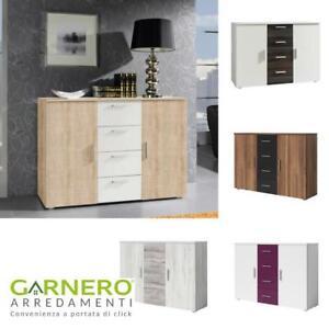 Dettagli su Comò moderno Lisa, varie finiture, mobile con ante e cassetti,  camera da letto