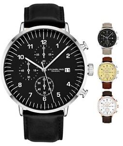 Stuhrling-Men-039-s-3911L-Quartz-Chronograph-Dress-Genuine-Leather-Band-Sports-Watch