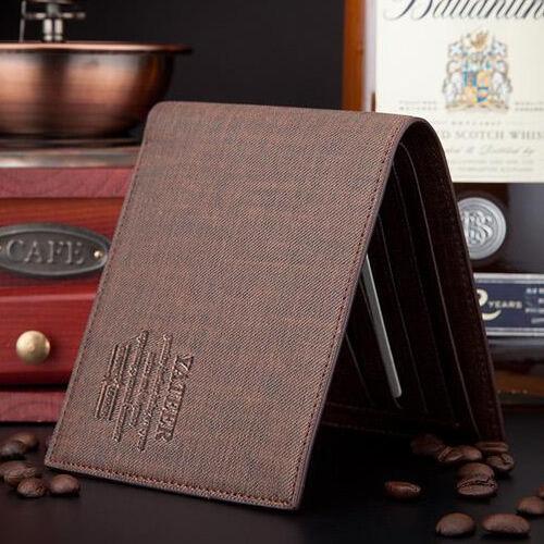 New Men's Stylish Slim Bifold Business Leather Wallet Card Holder  Purse Pockets